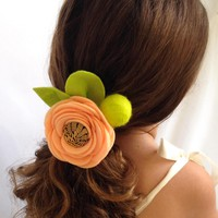 Handmade Orange Zinnia Felt Headband