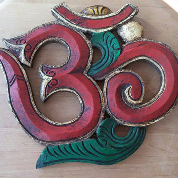 Vintage Hand Painted, Hand Carved Om Wall Hanging | Buddhist Decor | Red and Green Om | Free Shipping in Continental US | Om Decor