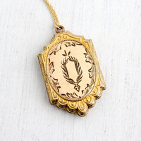 Antique Edwardian Embossed Large Locket - Vintage 10k Gold Filled Early 1900s Repousse Jewelry, Hallmarked A&Z