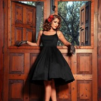 Jenny Dress in Black Sateen