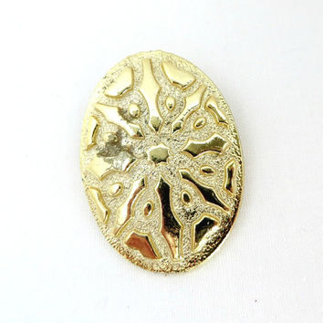 Vintage Gold Tone Scarf Clip, Embossed Dress Clip, Scarf Accessory