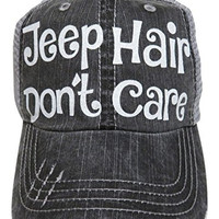 Glitter Jeep Hair Don't Care Distressed Look Grey Trucker Cap Hat (White Glitter Letters)