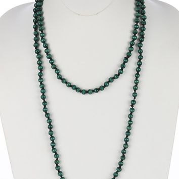 Green Wooden Bead Extra Long Wraparound Necklace