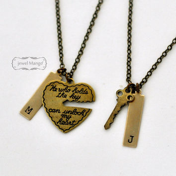 key to my heart, COUPLE necklace, mr. mrs.,hand stamping jewelry, His and Hers, Girl friend, Boy friend, Husband and Wife, wedding, bride