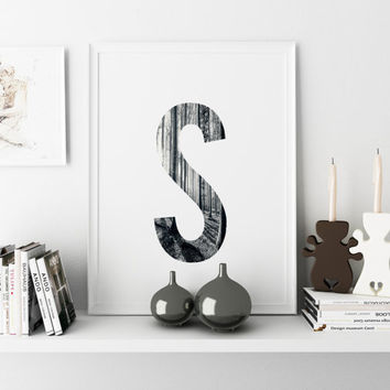 Monogram Print FOREST PHOTO LEAF Print Printable custom Print Initial letter S Wall Decor Home Decor Wall Art Digital download Any Letter