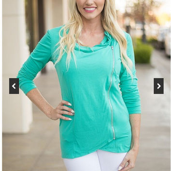 Side Zippered Long Sleeve Sweater