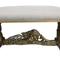 Carved Giltwood Bench w/ Burlap