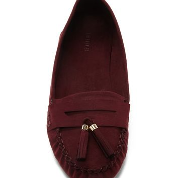 Faux Suede Tasseled Loafers