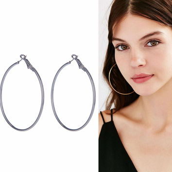 Earrings Large Hoop Statement Wedding Bridal Double Big Jewelry Minimalist Silvery Golden
