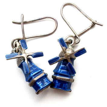 Sterling Silver Blue Enamel Windmill Earrings Vintage