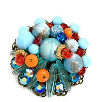 Multi-Color Floral Bead Brooch, Brilliant Colors, Turquoise Coral Red Glass & Lucite  Beads, Wired Gold Tone Filigree, Vintage Gift for Her