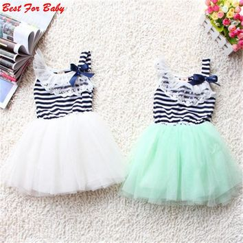 New Baby 0-2Y Girl Ball Gown Dress Lace+Cotton Material 3 Colors Summer Fashion