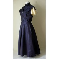 1950s Party Dress Navy Blue Rhinestone Buttons Pleated Sleeves | AestheticsAndOldLace - Clothing on ArtFire