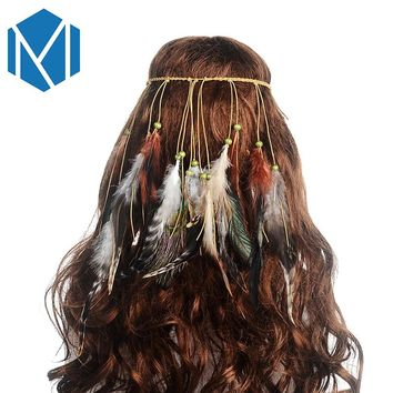 MISM Bohemian Feather Headband Festival Women Peacock Rope Indian Hair Accessories Handmade Ethnic Plume Drop Beads Hair Band