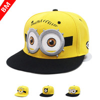 Minions Fashion Yellow Hat Flat Along Baseball Cap Snapback Hip-hop Caps for Boy And Girls
