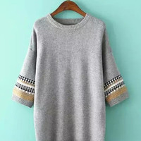 Tribal Pattern Long Sleeve Knitted Sweater