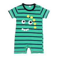 Infant Kid Baby Boy Striped Short Sleeve Jumpsuit Cute Cartoon Cotton Romper Newborn Clothing 0-24M