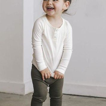 Kids Buttoned Henley Top