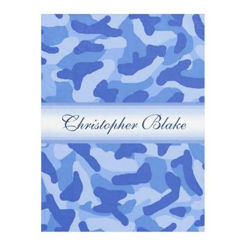 Personalized Monogram Blue Camo Camouflage Fleece Blanket