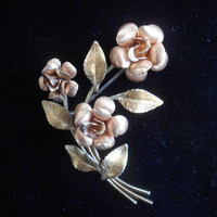 Krementz Signed Rose Bouquet Brooch
