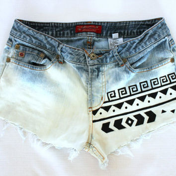Bleached Tribal Aztec Shorts
