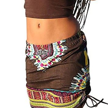 Women's Short Skirts African Dashiki Skirt Boho Ethnic Short Beach Skirt