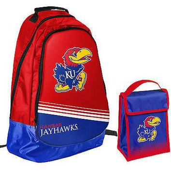 Kansas Jayhawks NCAA One Size Backpack Core Bag Insulated Lunch Box