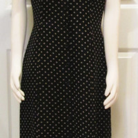Black Dress Polka Dot Dress 90s Dress Vintage Dress Vintage Clothing 90s Clothing Shirt Dress Day Dress Button Front Dress Grunge Dress Long
