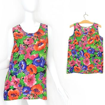 Vintage 80s Bright Floral Print Sleeveless Silk Blouse - Size Small - Oversized Women's Long Tunic Tank Top