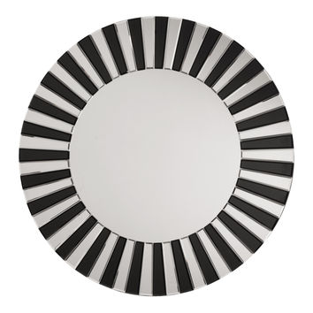 OSP Designs The Jazz Note Round Wall Mirror with Black Glass