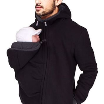 Father Hoodies Carrier T-shirt Tops baby carrier packback multifunction Front carry pockets kangaroo clothing dad pappy