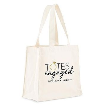 Personalized White Canvas Tote Bag - Totes Engaged Tote Bag with Gussets (Pack of 1)