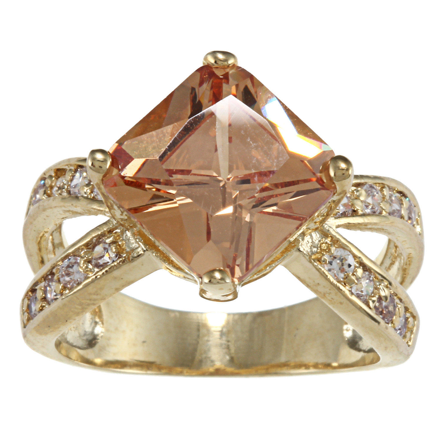 Gold Square Champagne/Clear CZ Open Pave Band | Overstock.com