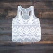 crochet lace tank | white