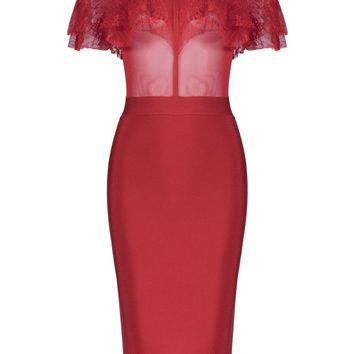 Honey Couture FIZZ Red Mesh Insert Lace Overlay Midi Bandage Dress