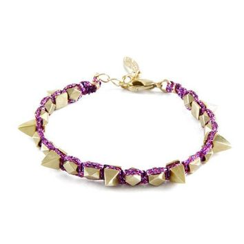 Sweetly Spiked Bracelet in Metallic Violet