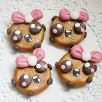 Hair Bow Centers, Buttons, Charms, Chunky Pendants, Scrapbook Brads, Magnet -  Polymer Clay Kawaii Cookie Girl - 4pcs
