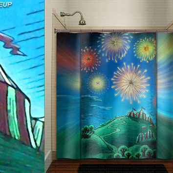 fireworks big top whimsical circus tent shower curtain kids bathroom decor bath fabric window curtains panel bathmat rug towel extra long