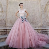 Vestido De Noiva Bridal Gown Tulle Long Puffy Color Vintage Pink Wedding Dress Lace Ball Gown Rainbow Wedding Dresses 2016