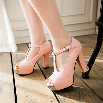 High Quality Womens Platform 3 Inch Wood Wooden Chunky High Heel Shoes Black Nude Genuine Leather Peep Toe Ankle T Strap Sandals