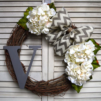 Hydrangea Wreath | Spring Wreath | Grapevine Wreath | Initial Monogram | Grey Chevron | Burlap Bow | Custom Made To Order