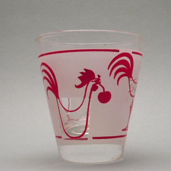 Shot Glass. Vintage. Frosted Glass. Chickens. Roosters. Double Shot Glass. Red Roosters. Cherry. Vintage Bar. Bar Ware