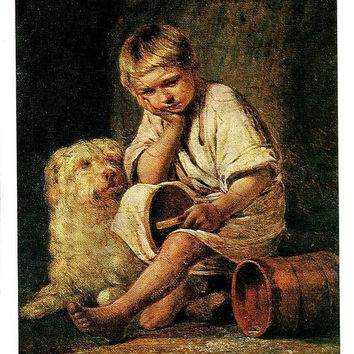 Boy, Dog, Art Vintage Russian Postcard, Painting Reproduction, Artist  A. Venetsianov print 1979