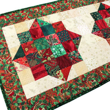 Christmas Quilted Table Runner, Red, Green, Cream Holiday Scrap Quilt, Christmas Jewels Table Runner Quilt, Quiltsy Handmade Patchwork