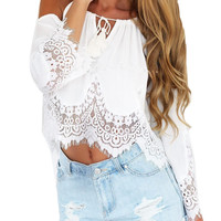 2016 New Fashion Summer Women Hollow Out Crochet Lace Tank Tops Casual Tee Off Shoulder Shirt Beach Loose Crop Top Femme