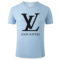 LV Louis Vuitton Fashion Men Women Casual Print Cotton Tunic Shirt Top Blue