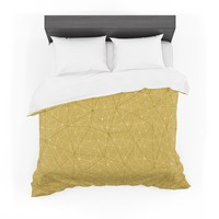 "Michelle Drew ""Wanderlust Hazy Skies"" Yellow Geometric Featherweight Duvet Cover"