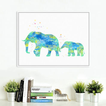 Original Watercolor Elephant Family Poster Prints Abstract Animal Picture Home Wall Art Decoration Canvas Painting No Frame Gift