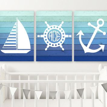 Nautical Wall Art, Nautical Bathroom Decor, Monogram CANVAS or Print, Nautical Decor, Blue Ombre Wood Effect, Anchor Sailboat Wheel Set of 3