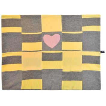 Fifi & Romeo Limited Edition Cashmere Stripe Blanket - Yellow & Grey with Pink Heart